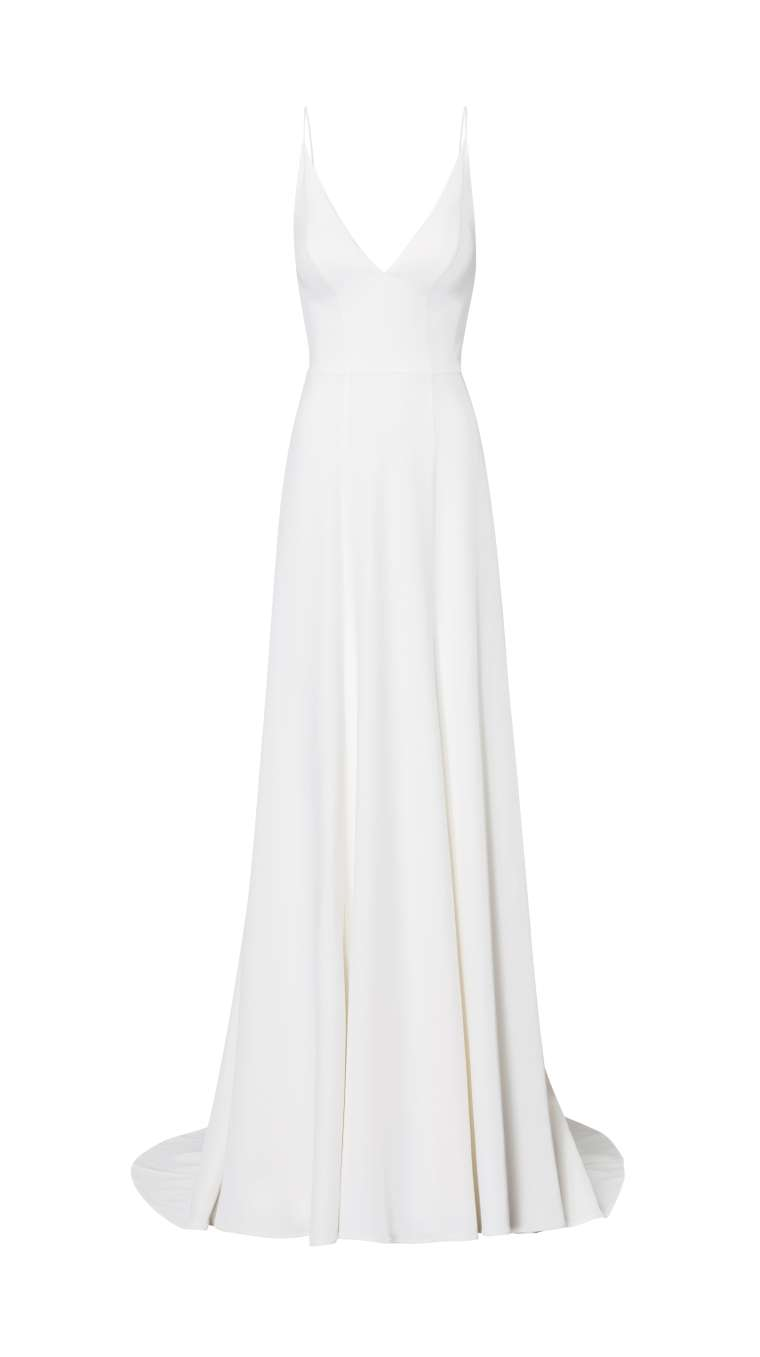 elegant wedding dress with V-neck