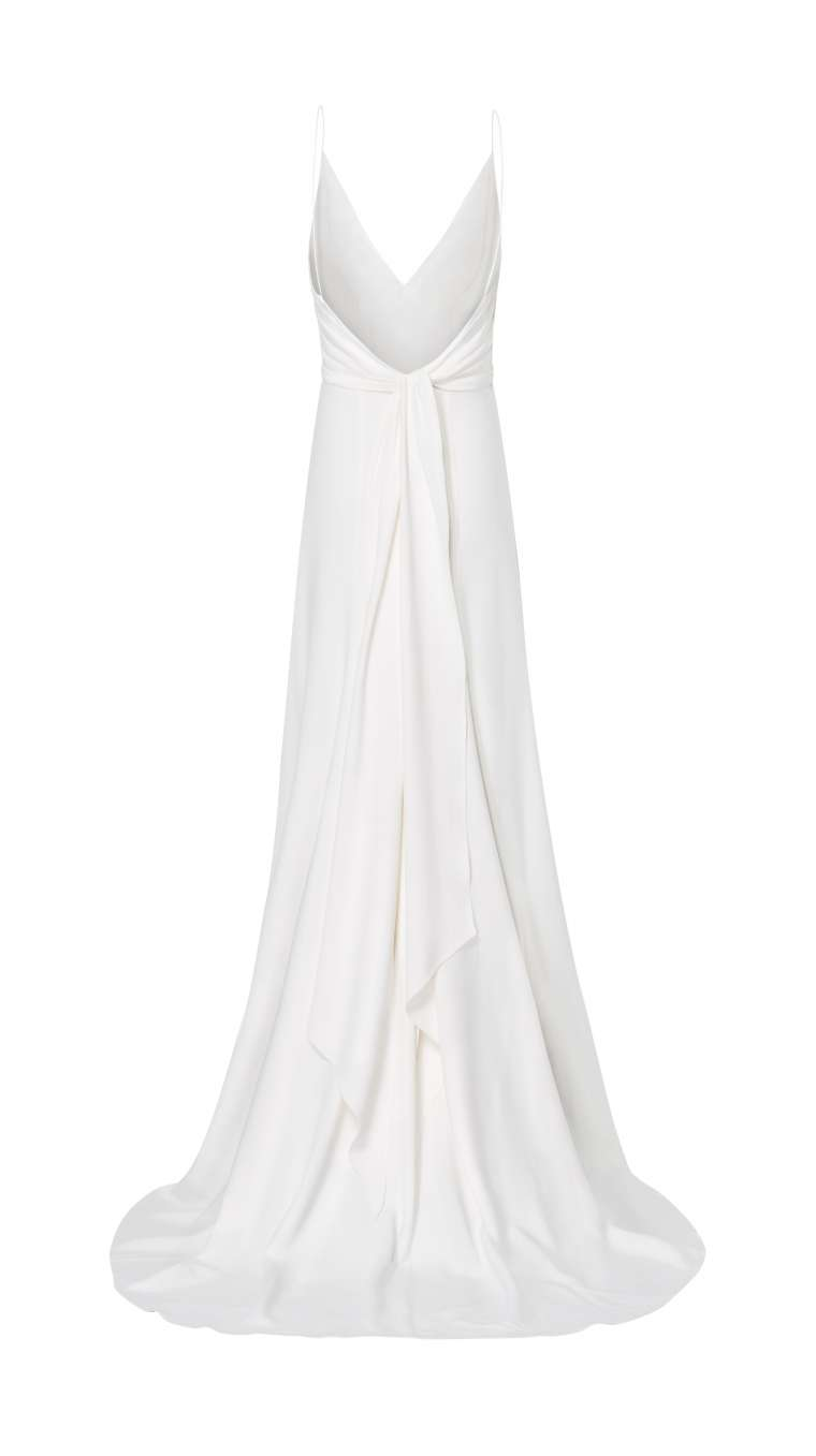 form-fitting bridal dress with deep back neckline
