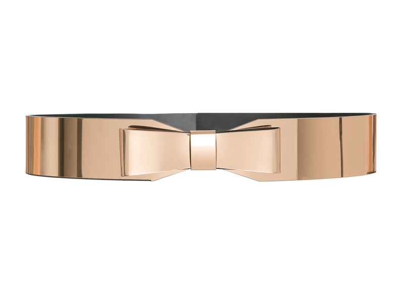 Metallic Bow Belt gold