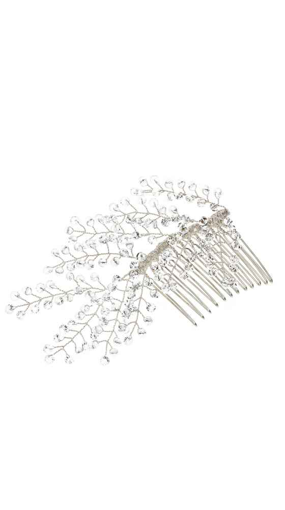 Sparkling hair comb in silver