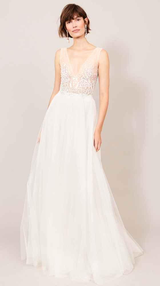 wedding gown with lamé lace