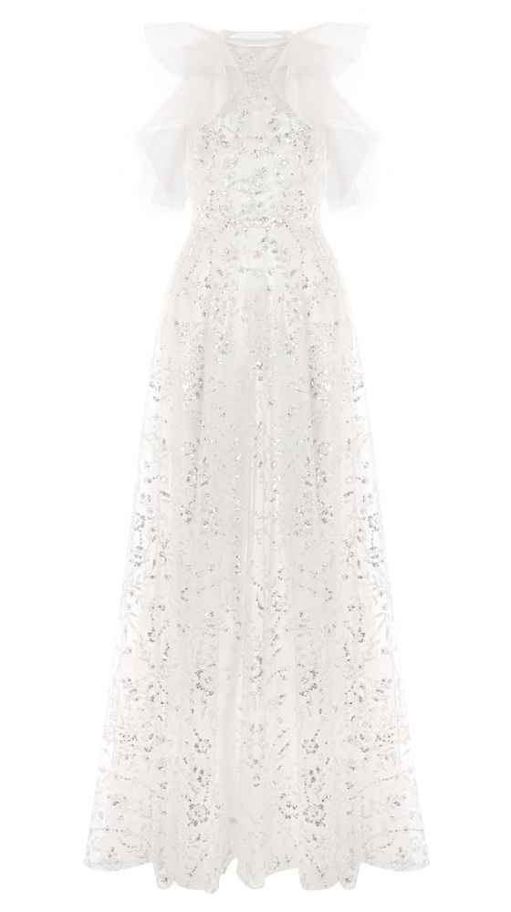 Crystal Flower Volant Dress Vorderseite