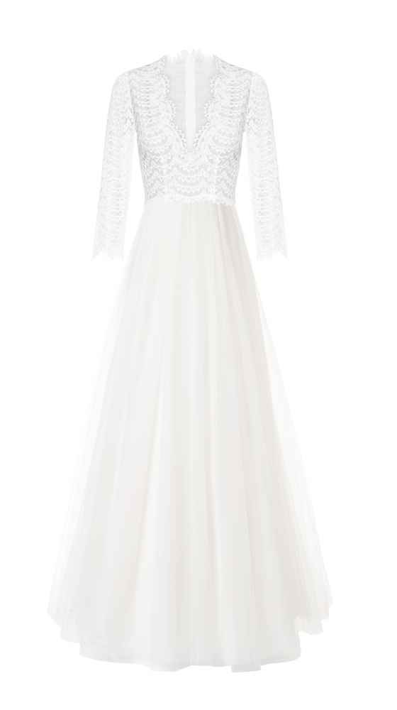 Simple Wedding Dress Bardot Dekolleté Tulle Dress