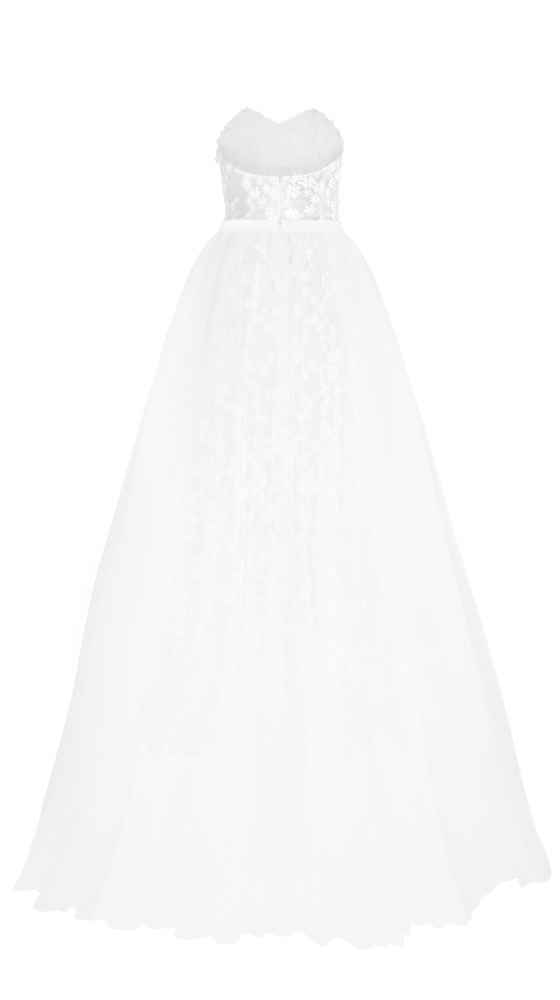 Single view Daisy Bustier Dress with Tulle Overskirt