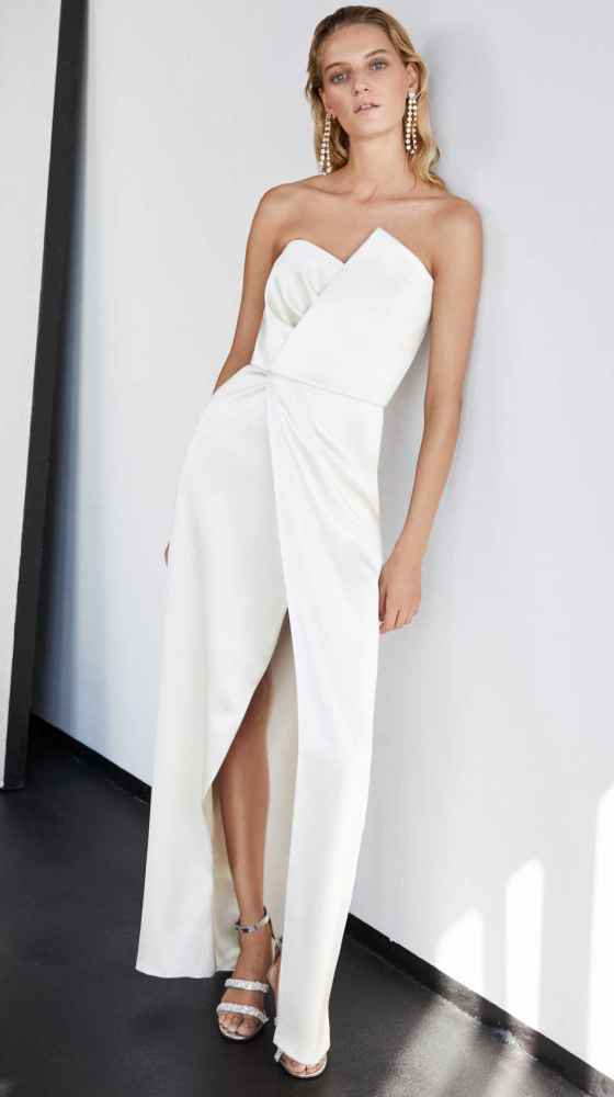 Look des Asymmetric Bustier Dress