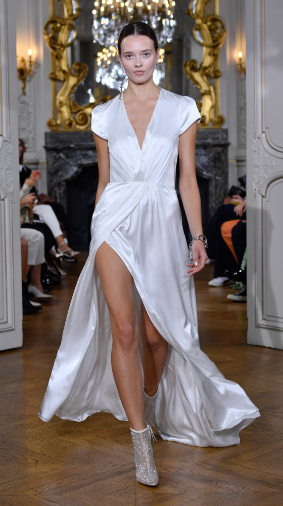 Shiny Drape Dress in Ivory