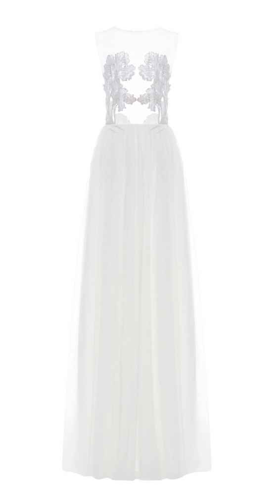 White Iris Illusion Dress by Kaviar Gauche