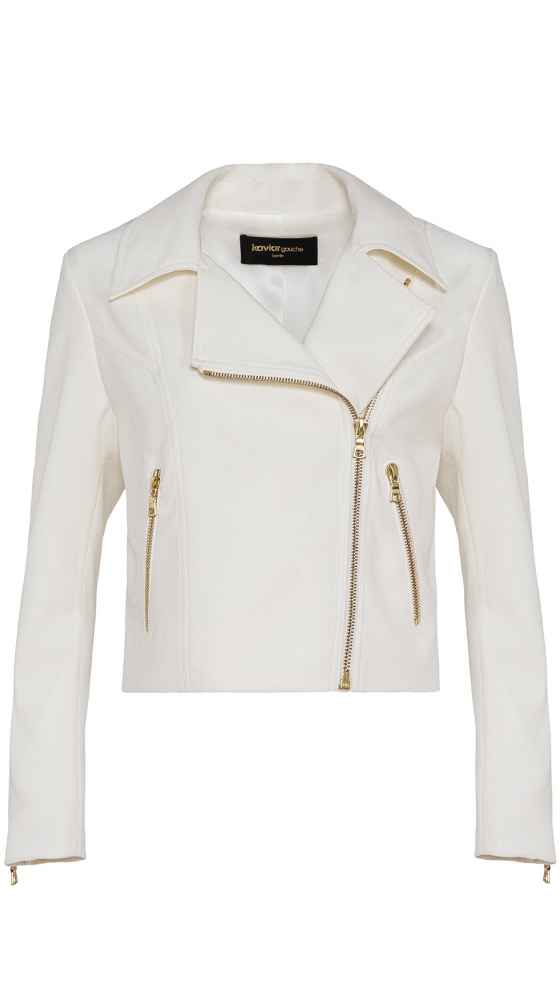 Motorcycle jacket for you in white by Kaviar Gauche