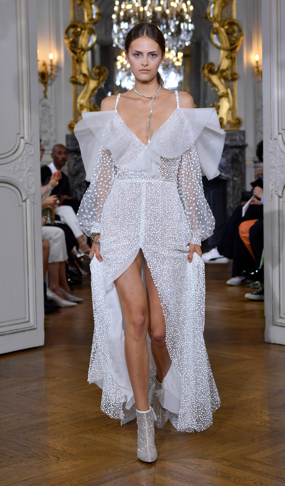 White Crystal Sleeve Dress Catwalk Look