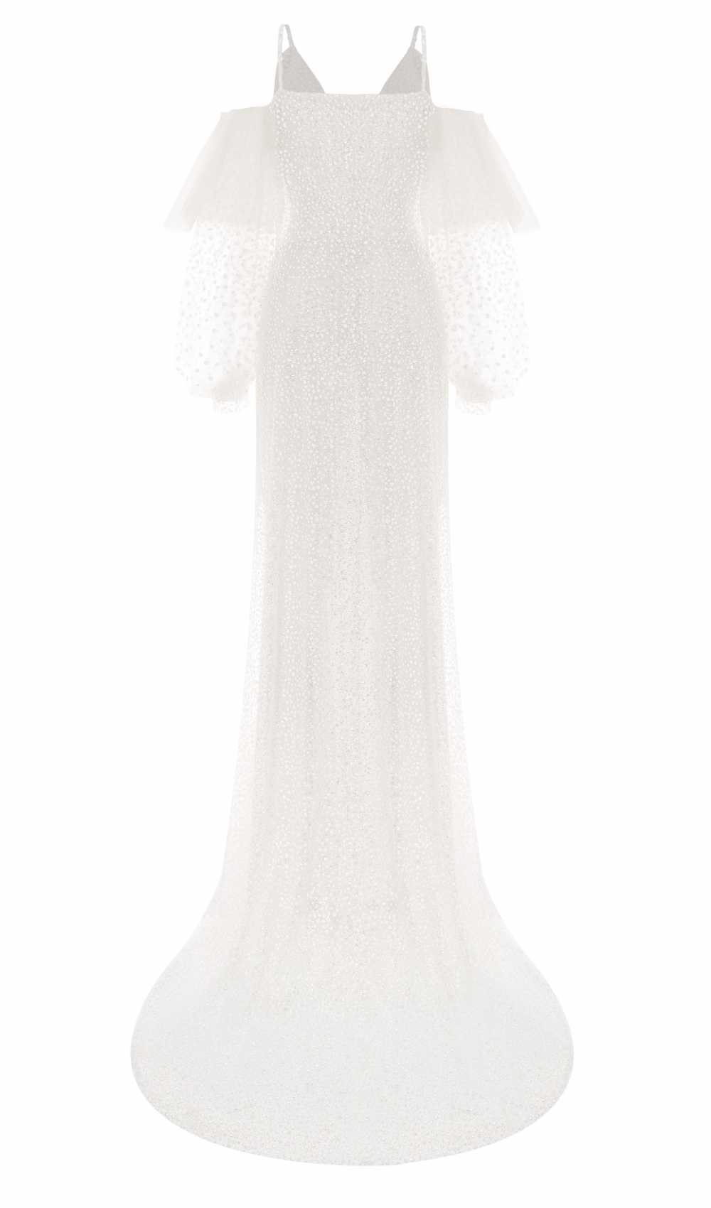White Crystal Sleeve Dress Rückseite