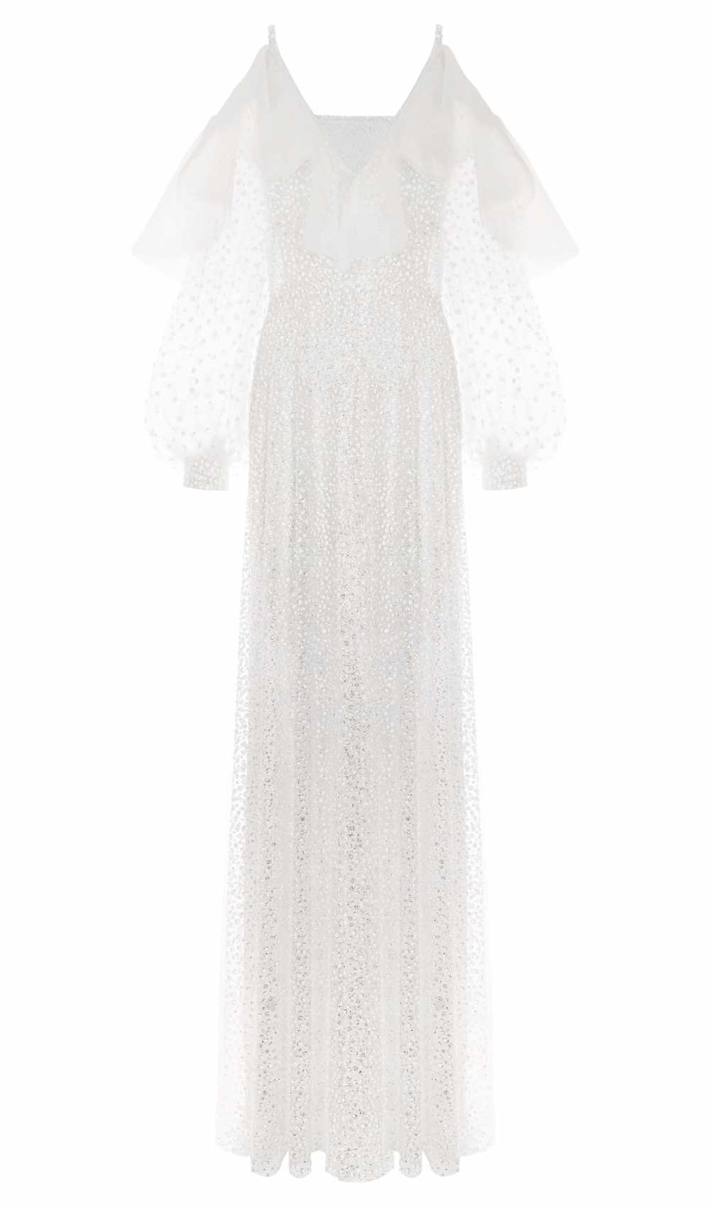 White Crystal Sleeve Dress Front