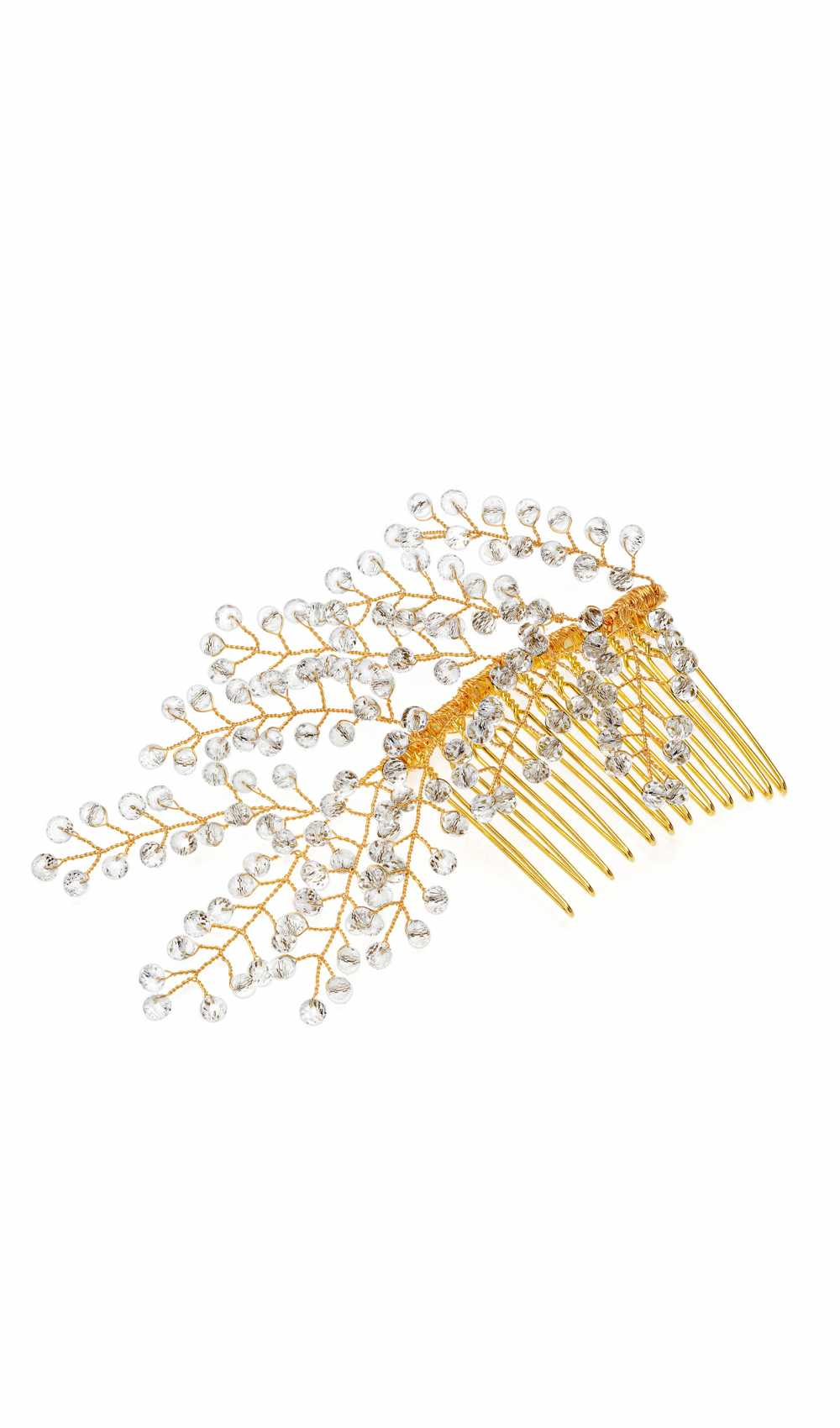 Sparkling hair comb in gold