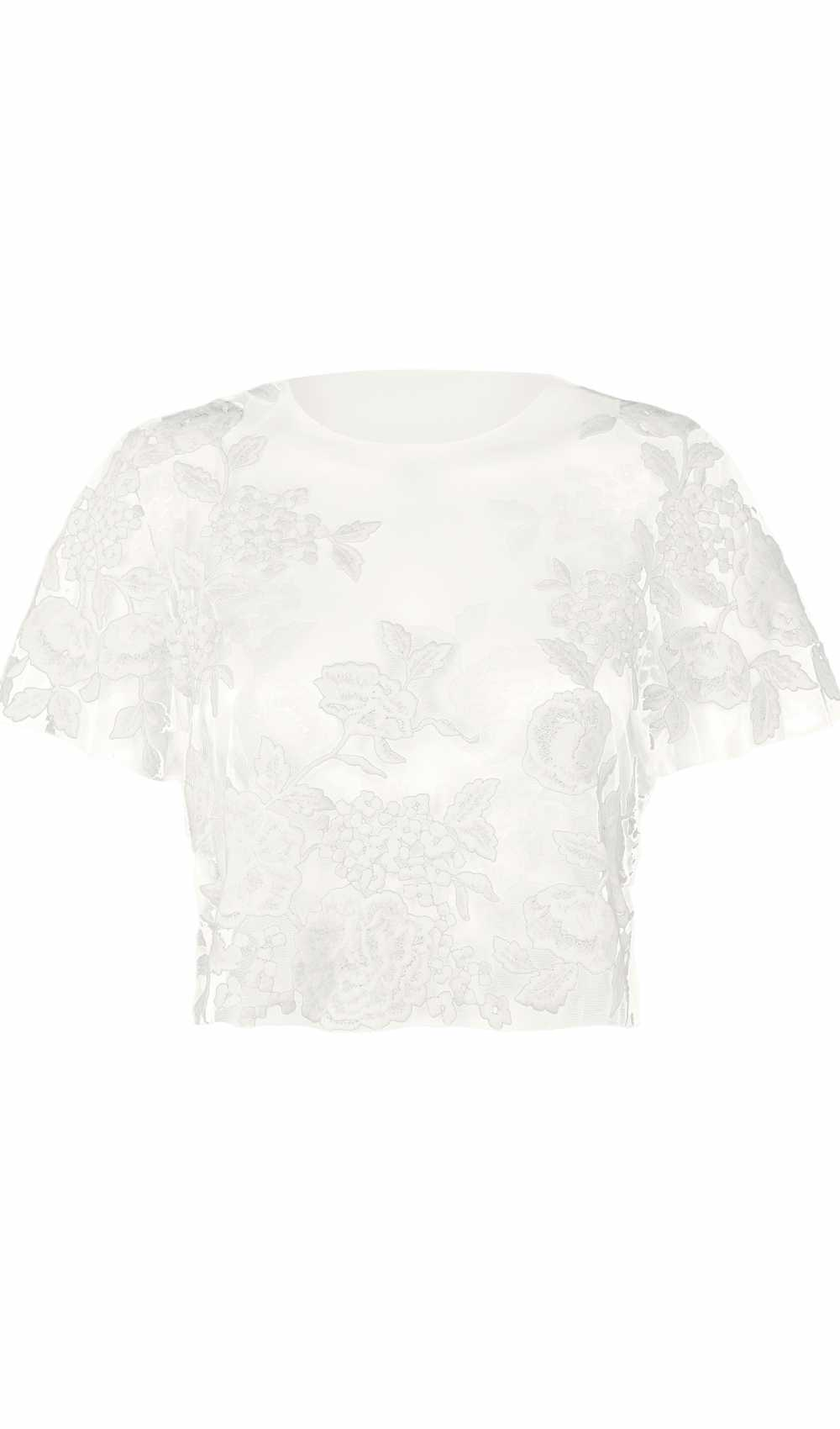 T-Shirt mit Blumenstickerei Mystic Rose Top