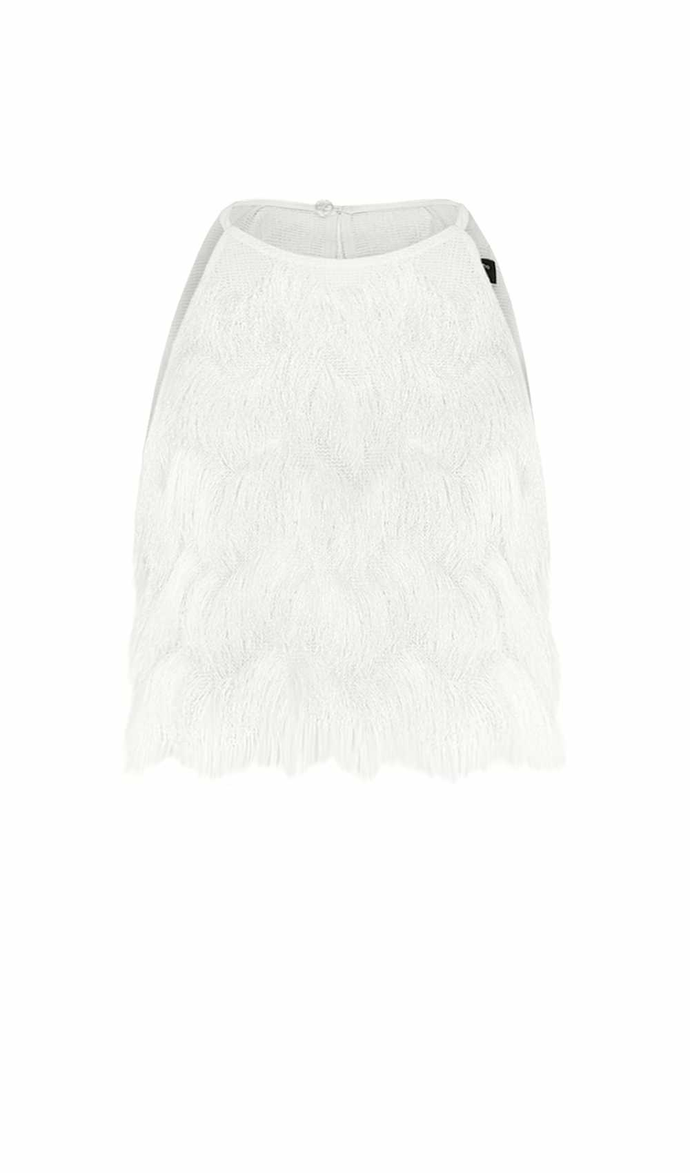 Ivory high necked top with fringes