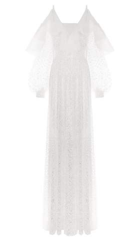 White Crystal Sleeve Dress Vorderseite